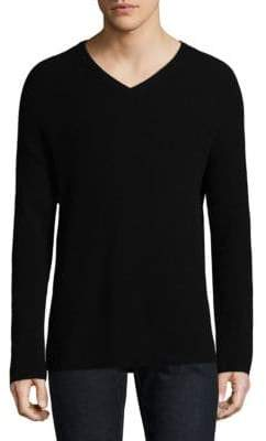 Theory Cashmere V-Neck Rib-Knit Sweater