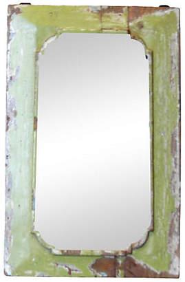 One Kings Lane Vintage Petite Lime Painted Mirror - de-cor