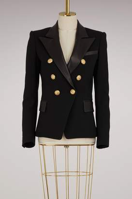 Balmain Wool jacket with leather collar