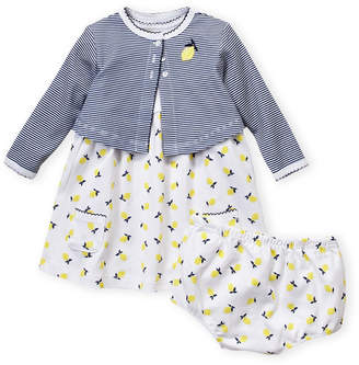 Little Me Newborn Girls) 3-Piece Lemon Dress & Striped Cardigan Set