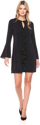 ECI New York Women's Ls Dress with Ruffled Front
