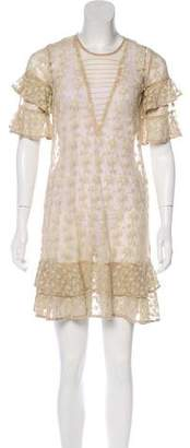 AllSaints Embroidered Mini Dress
