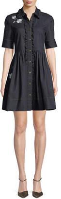 Kate Spade Embroidered Denim Mini Shirt Dress