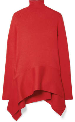ADEAM - Asymmetric Ribbed Silk-blend Sweater - Red