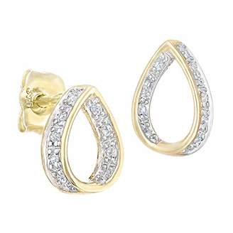 3ca549429 Naava Women's 9 ct Yellow Gold Diamond Teardrop Design Stud Earrings