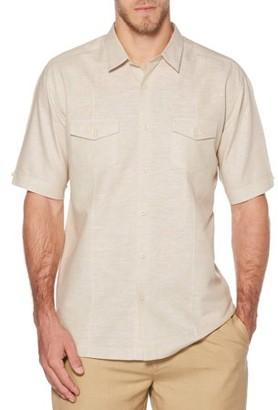 Cafe Luna Men's Short Sleeve Linen Cotton Single Tuck Woven Shirt with Upper Pockets