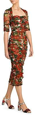 Dolce & Gabbana Women's Tulle Ruched Floral Dress