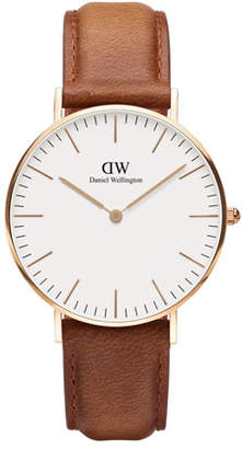 Daniel Wellington 36mm Classic Durham Watch, Brown/White/Rose Golden