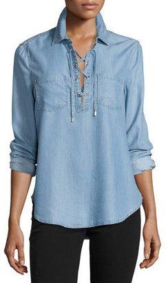 Paige Denim Billie Lace-Up Chambray Shirt, Ashlyn $199 thestylecure.com