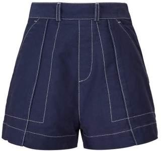 Chloé Contrast Topstitching Cotton Twill Shorts - Womens - Dark Blue