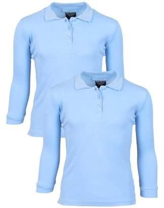 Beverly Hills Polo Club Girls' School Uniform 2 Pack Long Sleeve Cotton Interlock Polo