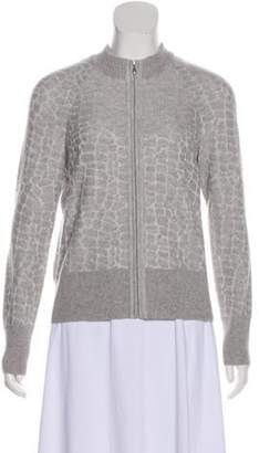 St. John Metallic Knit Cardigan Silver Metallic Knit Cardigan