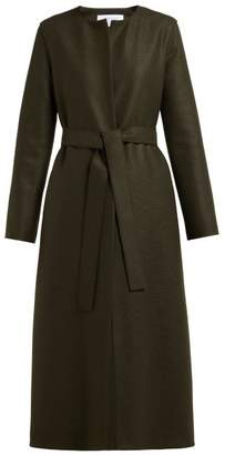 Harris Wharf London Collarless Single Breasted Pressed Wool Coat - Womens - Dark Green