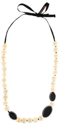 Marni Fabric & Horn Bead Necklace