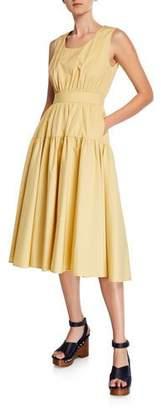 Aspesi Scoop-Neck Sleeveless Tiered Cotton-Poplin Dress