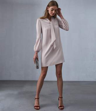 Reiss Ronda Tie Neck Shift Dress
