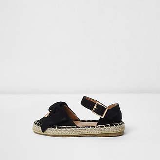 River Island Mini girls black bow top espadrille sandals