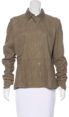 Façonnable Suede Button-Up Top w/ Tags