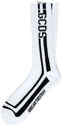 Two Tone Logo Intarsia Cotton Knit Socks $29 thestylecure.com