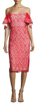 Mestiza New York Hawley Off-the-Shoulder Geometric Lace Cocktail Dress, Bright Red