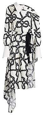 Monse Women's Rope Print Pleated Silk Dress