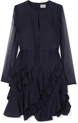 Jason Wu GREY - Ruffled Silk-chiffon Dress - Navy