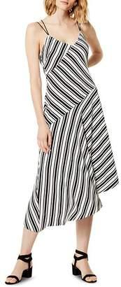 Karen Millen Asymmetric Striped Slip Dress