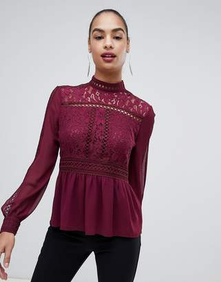 f3977469187cd Forever New lace detail blouse with high neck in burgundy