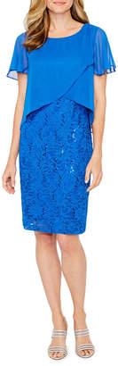 Ronni Nicole Short Sleeve Sequin Pattern Sheath Dress