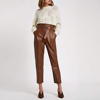 River Island Dark brown paperbag waist pants