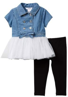 Bebe Denim Tulle Dress & Leggings (Baby Girls)