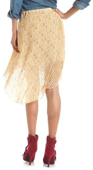 Charlotte Russe Pleated Floral Hi-Low Skirt