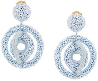 Oscar de la Renta triple hoop beaded earrings