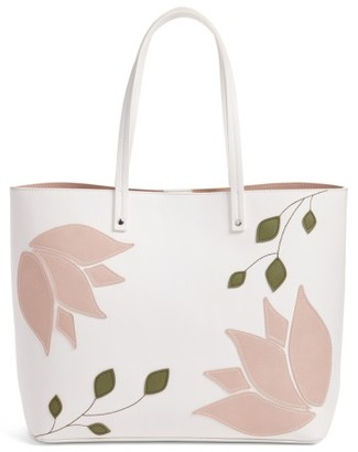 Chelsea28 Tulip Applique Faux Leather Tote - White $79 thestylecure.com