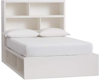 Pottery Barn Teen Store-It 6-Cubby Bed + Storage Headboard Set, Full, Simply White