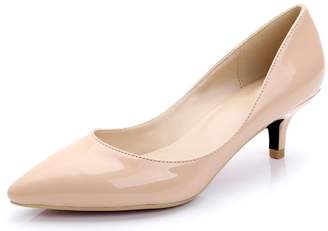 CAMSSOO Women's Pointy Toe Velveteenmps Slip On Kitten Heels for Wedding Party Shoes Size 7.5 EU38