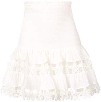 Zimmermann high waisted floral crochet skirt