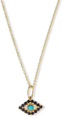 Sydney Evan Small Turquoise Cabochon Evil Eye Pendant Necklace w/Sapphires