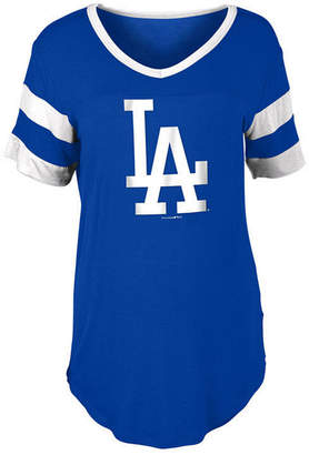 5th & Ocean Women Los Angeles Dodgers Sleeve Stripe Relax T-Shirt