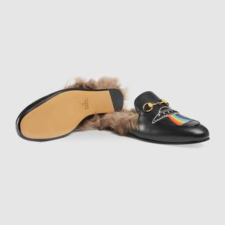 Gucci Princetown leather slipper with appliqués