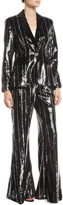 Jovani Flared Sequin Striped Pants