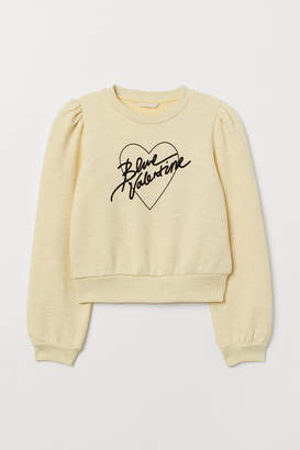 H&M Flock-print Sweatshirt - Yellow