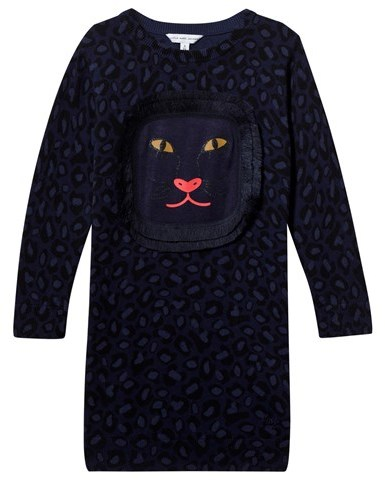 Little Marc JacobsLittle Marc Jacobs Navy Cat Face and Leopard Print Sweater Dress