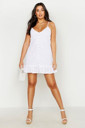 boohoo Plus Broderie Anglaise Button Down Slip Dress