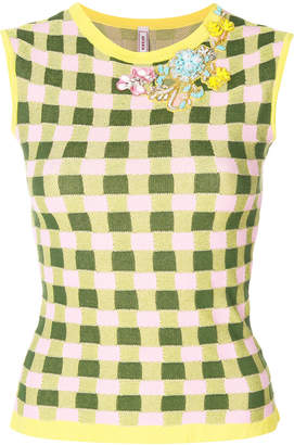 Antonio Marras bead embroidered gingham tank