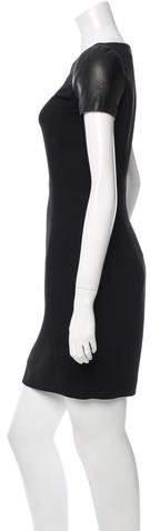 Barbara Bui Leather-Accented Mini Dress w/ Tags