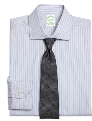 Brooks Brothers Milano Slim-Fit Dress Shirt, Heathered Frame Stripe
