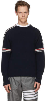 Thom Browne Navy Classic Crewneck Stripes Pullover