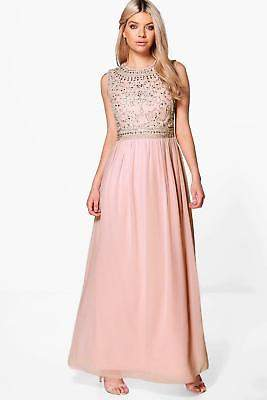 boohoo NEW Womens Boutique Embellished Chiffon Maxi Dress in Polyester