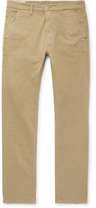 Nudie Jeans Slim Adam Garment-dyed Stretch-cotton Twill Trousers - Beige